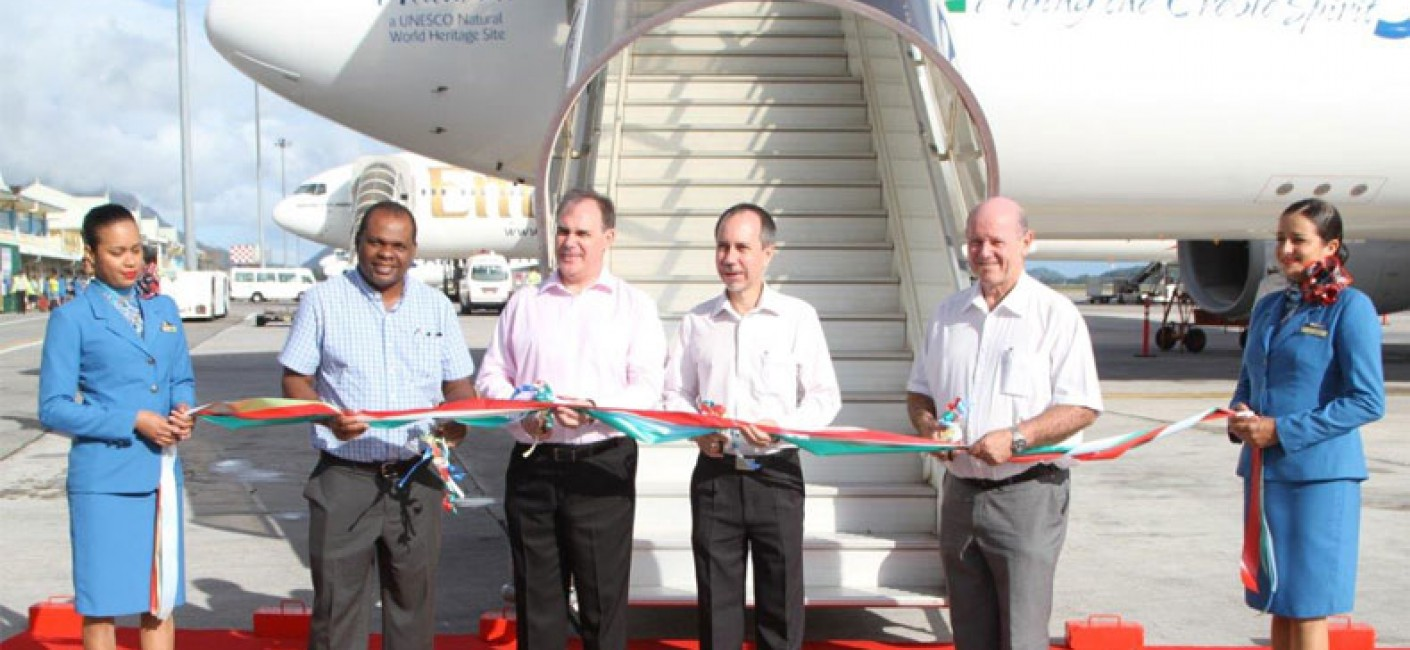 Aldabra ribbon cutting ceremony: (from left) Minister Didier Dogley, Ministry for Environment; Air Seychelles CEO Roy Kinnear; Minister Joel Morgan, Ministry for Foreign Affairs and Transport; Minister Alain St Ange, Ministry for Tourism and Culture