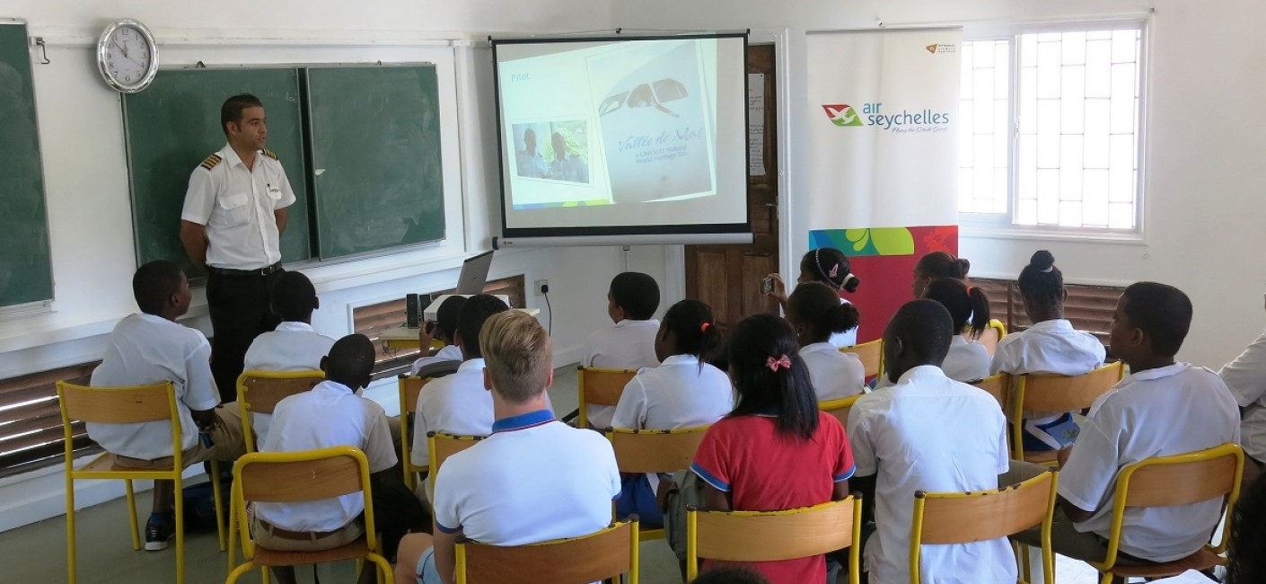 Captain Bertrand Mein speaks to students about what it takes to be a pilot at Air Seychelles