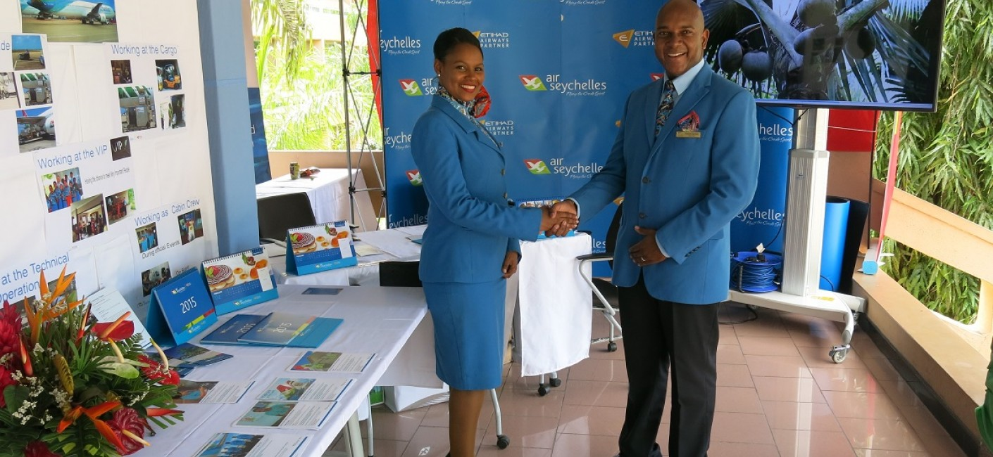 Air Seychelles cabin crew preparing to meet potential candidates at the Job Fair