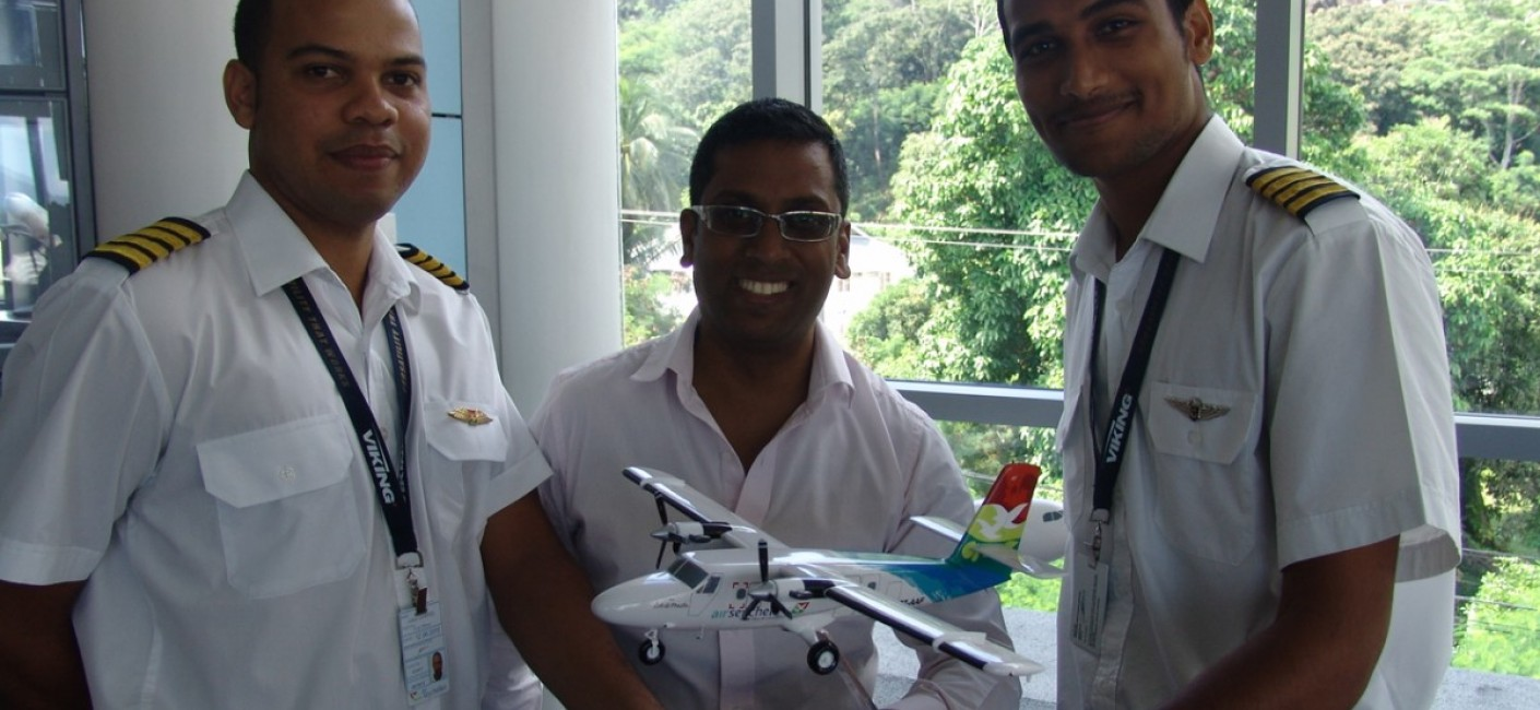 Air Seychelles' Chief Executive Officer, Manoj Papa flanked by Captain Gabriel and Captain Confait