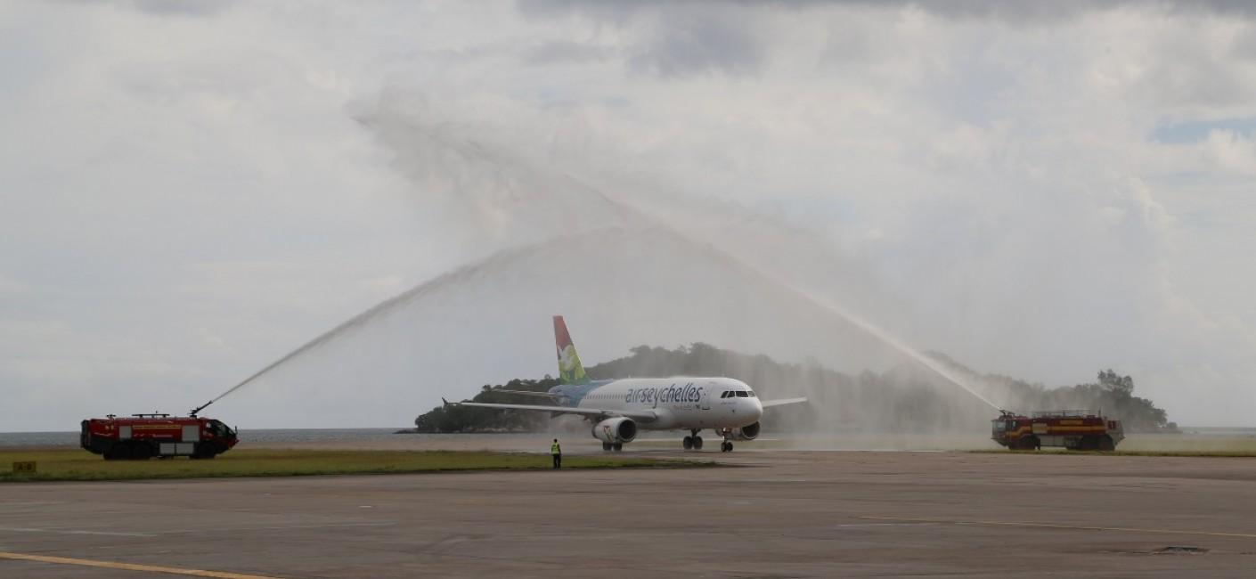 'Amirantes' is greeted by a traditional water cannon salute at Seychelles International Airport