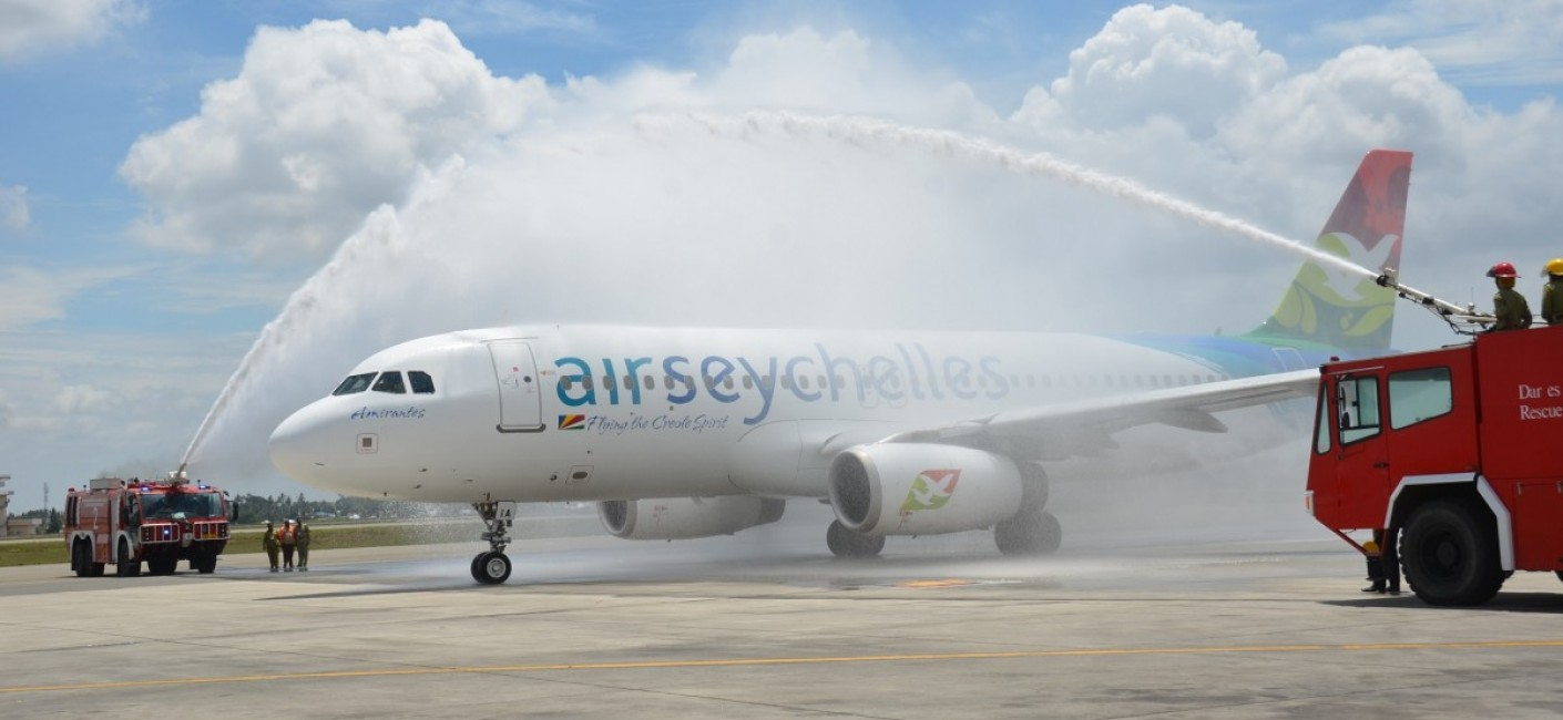Air Seychelles' inaugural flight HM 777 is greeted by a traditional water cannon salute at Julius Nyerere International Airport, Dar es Salaam