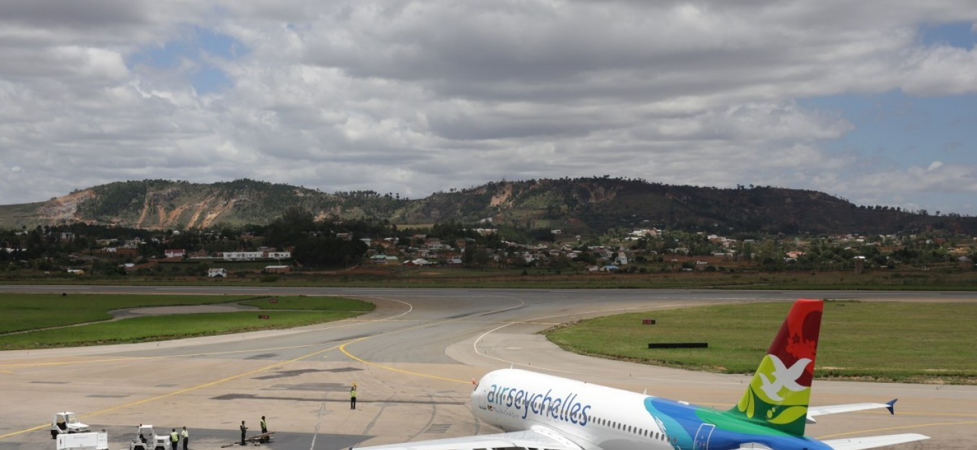 The island carrier's Airbus A320 taxis into position at Ivato International Airport