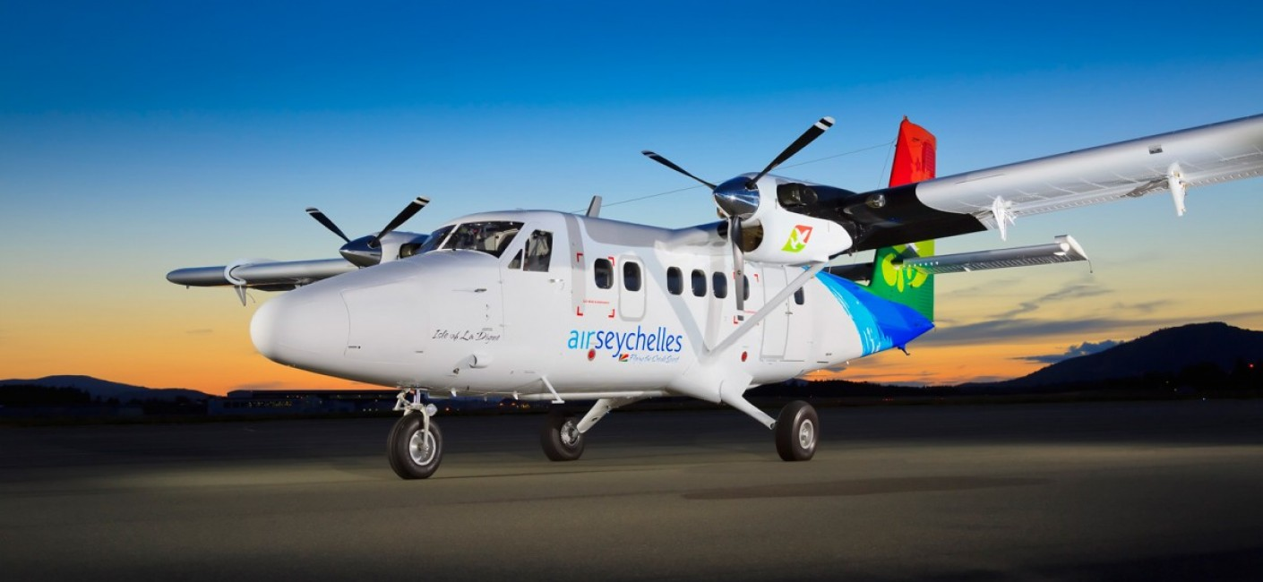 Air Seychelles operates a fleet of modern Twin Otter aircraft on domestic flights between Mahé and Praslin