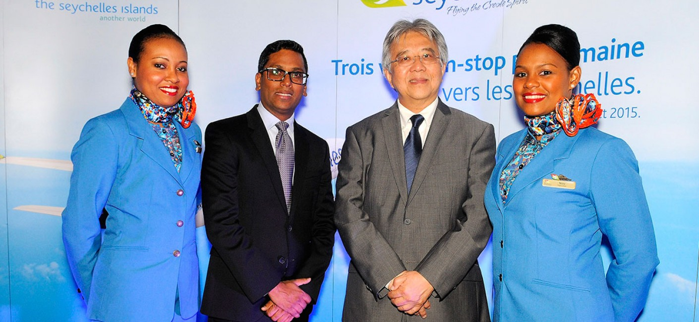 (L-R) Manoj Papa, Chief Executive Officer of Air Seychelles poses with Bernard Shamlaye, Seychelles' Ambassador to France