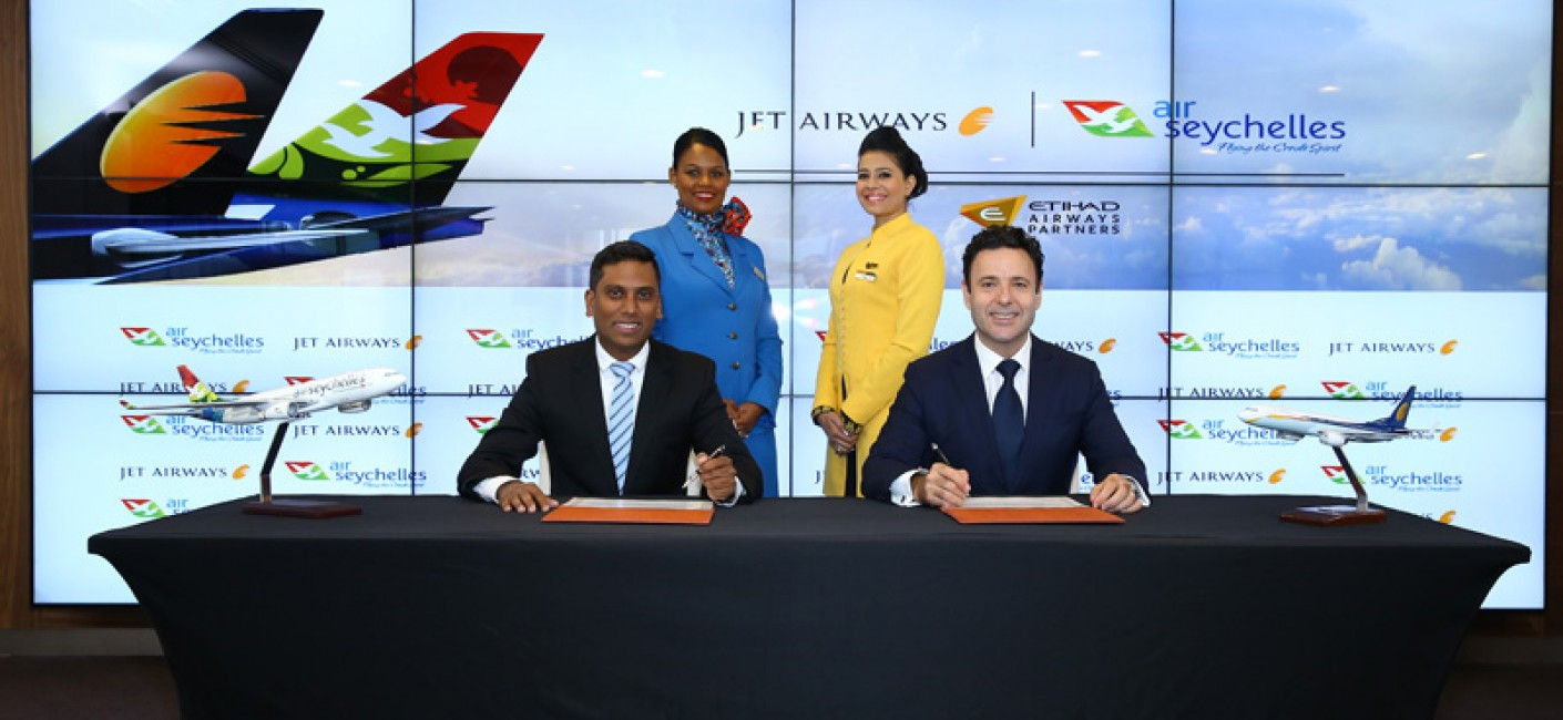 Manoj Papa, Chief Executive Officer of Air Seychelles, and Cramer Ball, Chief Executive Officer of Jet Airways, sign a codeshare agreement covering nine network points in India