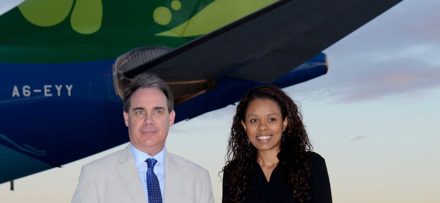 Roy Kinnear, Chief Executive Officer Air Seychelles, and Sherin Naiken, Chief Executive Officer Seychelles Tourism Board cut the ribbon to celebrate the nonstop service between Seychelles and Paris
